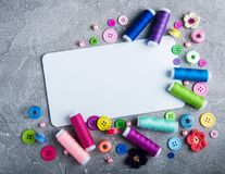 Accessory of the tailor sewing. And paper card Royalty Free Stock Photography