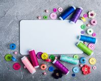 Accessory of the tailor sewing. And paper card Royalty Free Stock Photos