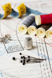 Accessory of the tailor. Such as pins, thread, buttons, pins, tape, thimble and pattern royalty free stock image