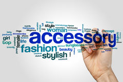 Accessory word cloud concept on grey background Royalty Free Stock Photos