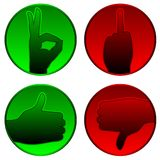 Accetti e rifiuti i simboli Fotografia Stock