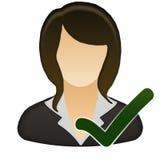 Accetti l'icona femminile dell'utente Immagini Stock