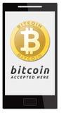 Accettiamo i bitcoins Immagini Stock