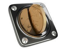 Accettore nero della moneta per la ricezione dei pagamenti Fotografia Stock