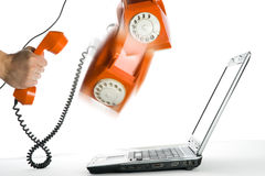 Acción abstracta con el teléfono anaranjado Imágenes de archivo libres de regalías