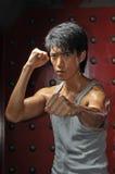 Acción asiática de la lucha interna del hombre Imagenes de archivo