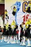 Acción Cheerleading del campeonato Imágenes de archivo libres de regalías