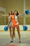 Acción Cheerleading del campeonato Fotos de archivo