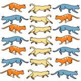 Acción coloreada de los gatos Imágenes de archivo libres de regalías