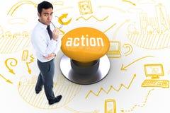 Acción contra el botón amarillo Fotos de archivo