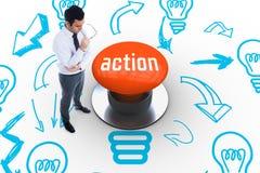 Acción contra el botón anaranjado Fotografía de archivo libre de regalías