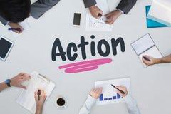 Acción contra la reunión de negocios Foto de archivo libre de regalías
