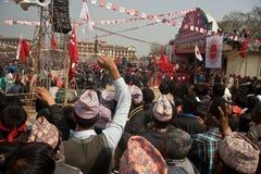 Acción CPN-UML contra el partido mao3ista en Nepal Foto de archivo libre de regalías