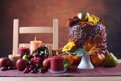 Acción de gracias Autumn Fall Theme Chocolate Cake Imágenes de archivo libres de regalías