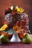 Acción de gracias Autumn Fall Theme Chocolate Cake Fotos de archivo libres de regalías
