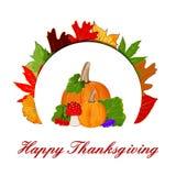 Acción de gracias Autumn Leaf colorido con la calabaza Imagenes de archivo