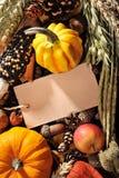 Acción de gracias con la tarjeta Fotografía de archivo libre de regalías