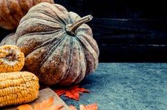 Acción de gracias en la estación del otoño en el fondo de madera Imagen de archivo libre de regalías