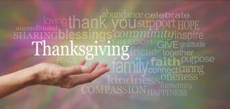 Acción de gracias en la palma de su mano Fotografía de archivo libre de regalías