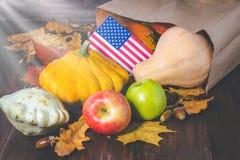 Acción de gracias en los estados Calabazas de la cosecha del otoño, manzanas en los E.E.U.U. Indicador americano Imagen de archivo libre de regalías