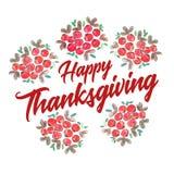 Acción de gracias feliz adornada con los manojos del arándano Fotos de archivo libres de regalías