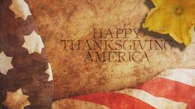 Acción de gracias feliz América Bandera y flor Fotografía de archivo
