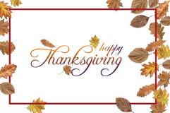 Acción de gracias feliz con las hojas coloreadas y la frontera roja en blanco Imágenes de archivo libres de regalías