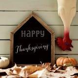 Acción de gracias feliz desplumada del pavo y del texto Fotos de archivo