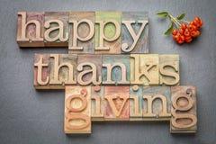Acción de gracias feliz en el tipo de madera Foto de archivo libre de regalías