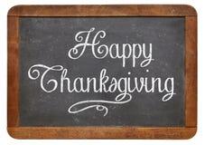 Acción de gracias feliz en la pizarra Imagenes de archivo