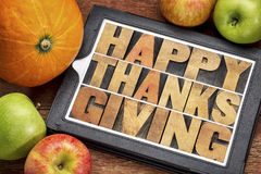 Acción de gracias feliz en la tableta Imagenes de archivo