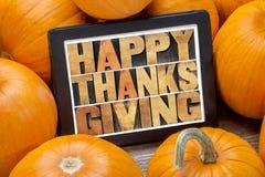 Acción de gracias feliz en la tableta digital Fotos de archivo libres de regalías