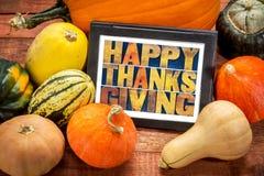 Acción de gracias feliz en la tableta digital Fotos de archivo