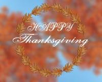 Acción de gracias feliz escrita en fondo borroso Imagen de archivo libre de regalías