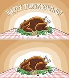 Acción de gracias feliz Turquía en la tabla con el disco ilustración del vector