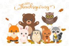 Acción de gracias feliz y carácter animal lindo para el uso como bandera, p stock de ilustración