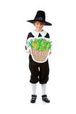 Acción de gracias: Peregrino que mira maíz en cesta Imagen de archivo
