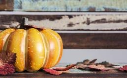 Acción de gracias y concepto de Halloween de calabaza con las hojas de arce Fotos de archivo libres de regalías