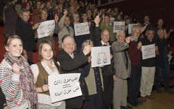 Acción de grupo en apoyo de mujeres en Irán Imágenes de archivo libres de regalías