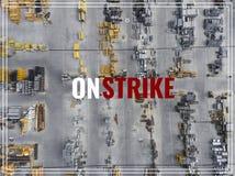 Acción de huelga de la palabra Lugar industrial del almacenamiento, visión desde arriba Foto de archivo