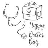 Acción de la colección de la celebración del día del doctor libre illustration