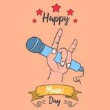 Acción de la colección de la tarjeta del día de la música
