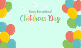 Acción de la colección del globo colorido del día de los niños