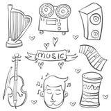 Acción de la colección garabato del elemento de la música del diverso libre illustration