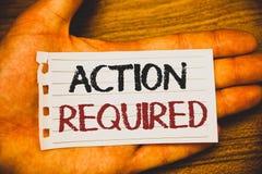 Acción de la escritura del texto de la escritura requerida El concepto que significaba acto importante necesitó el writt importan Fotografía de archivo libre de regalías