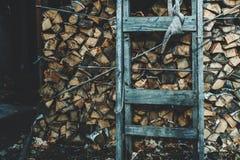 Acción de la leña con la escalera de madera vieja Foto de archivo libre de regalías