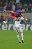 Acción de la liga de campeones de UEFA Imagenes de archivo