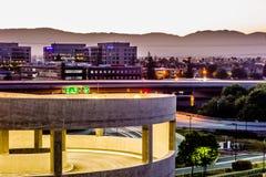 acción de la madrugada en el airpor del international de San Jose California Fotografía de archivo libre de regalías