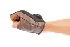 Acción de la mano y del guante de cuero Fotografía de archivo