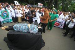 Acción de la protesta de los médicos Fotografía de archivo